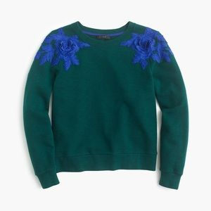 J. Crew Fitted  Sweatshirt with floral appliqué XS